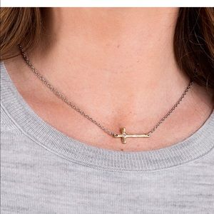 Two-tone cross necklace